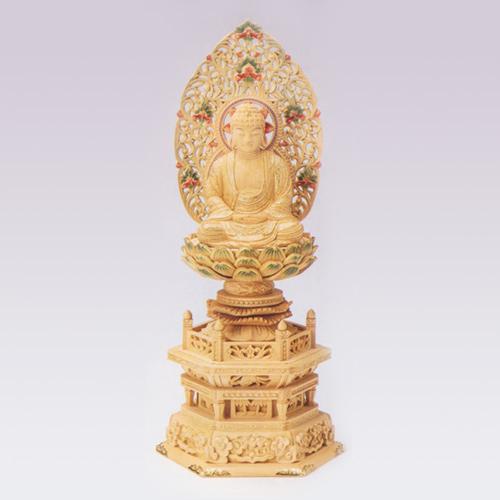 仏像 Nカヤ六角台 截金淡彩色 座釈迦2.5 高310×巾135×奥行98mm