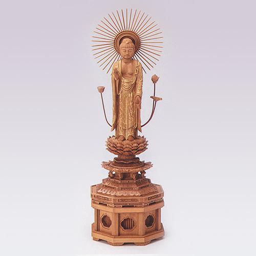 仏像 総白檀 新八角台上彫 金レイ付 寸法は増台を含んだ高さです。 東弥陀4.0 高314×巾97×奥行82mm 増台4.0 高50