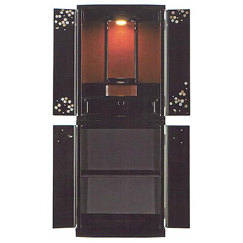 仏壇 モダン仏壇(床置) | すずめ 15×40号 ブラック | H122×W47×D35cm 内形寸法 (1)35cm (2)15cm