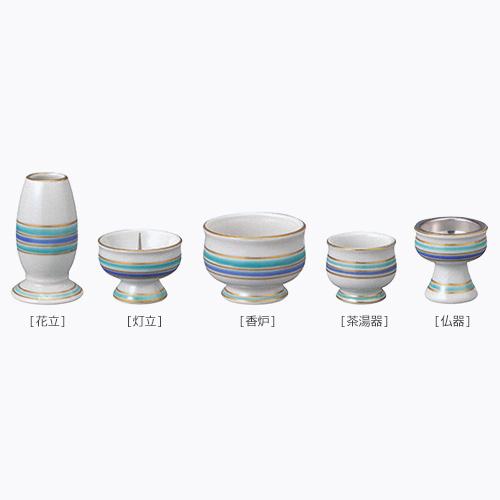 はなやぎ 五具足 九谷焼 仏具セット 香炉 花立 灯立 香炉 茶湯器 仏器