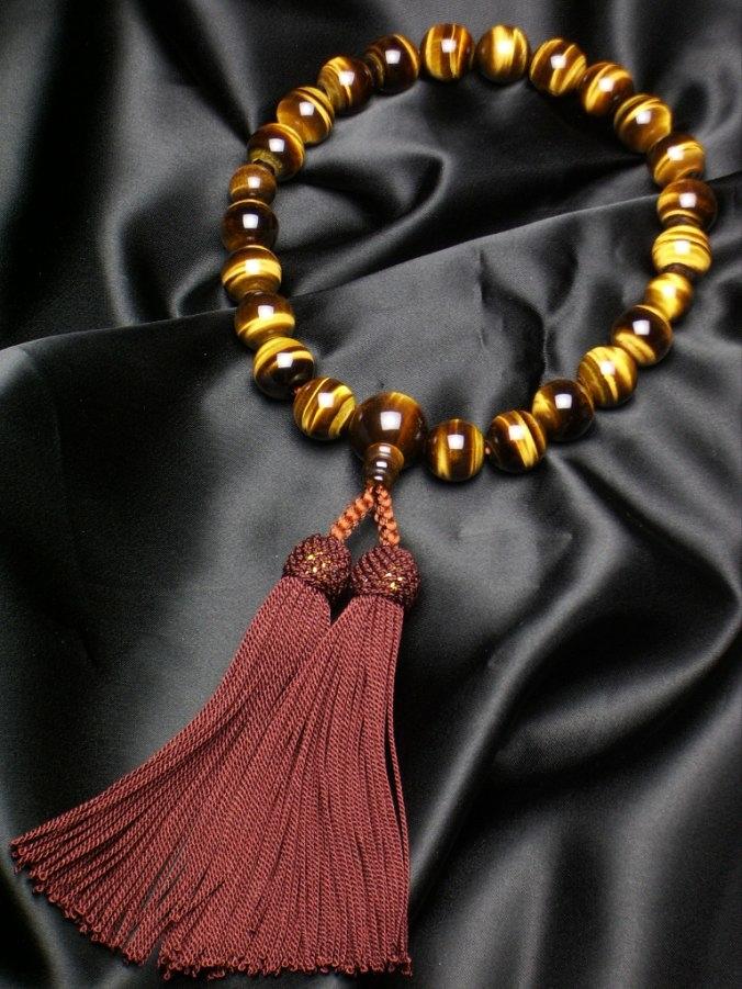 数珠 特上虎目石22珠共仕立正絹頭房(こげ茶)(特上品)各宗派 男性用数珠 念珠