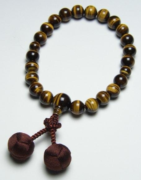 数珠 特上虎目石22珠共仕立小田巻梵天房(こげ茶)(特上品)各宗派 男性用数珠 念珠