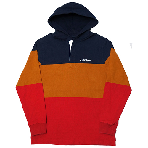 【中古】 Supreme (シュプリーム) BLOCK STRIPED HOODED RUGBY