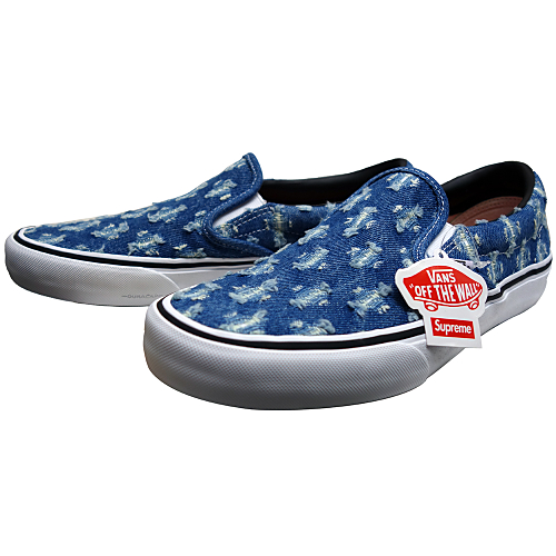 Supreme (シュプリーム) × VANS (バンズ) HOLE PUNCH DENIM SLIP-ON PRO