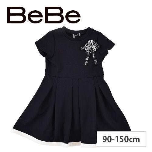 BeBe / ベベ リボンコサージュジャージワンピース  60%OFF 【 BeBe / ベベ 】 リボンコサージュジャージワンピース 子供服 BeBe bebe ベベ アウトレット 女の子 90 100 110 120 130 140 150