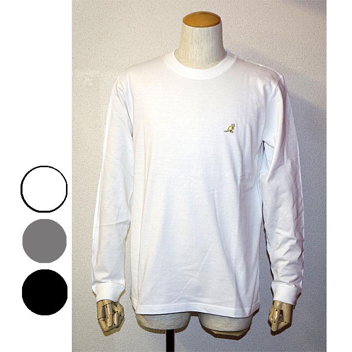 KANGOL(カンゴール)胸ワンポイントクルーネックロゴTシャツ長袖Tシャツ 3色グレー ホワイト ブラック