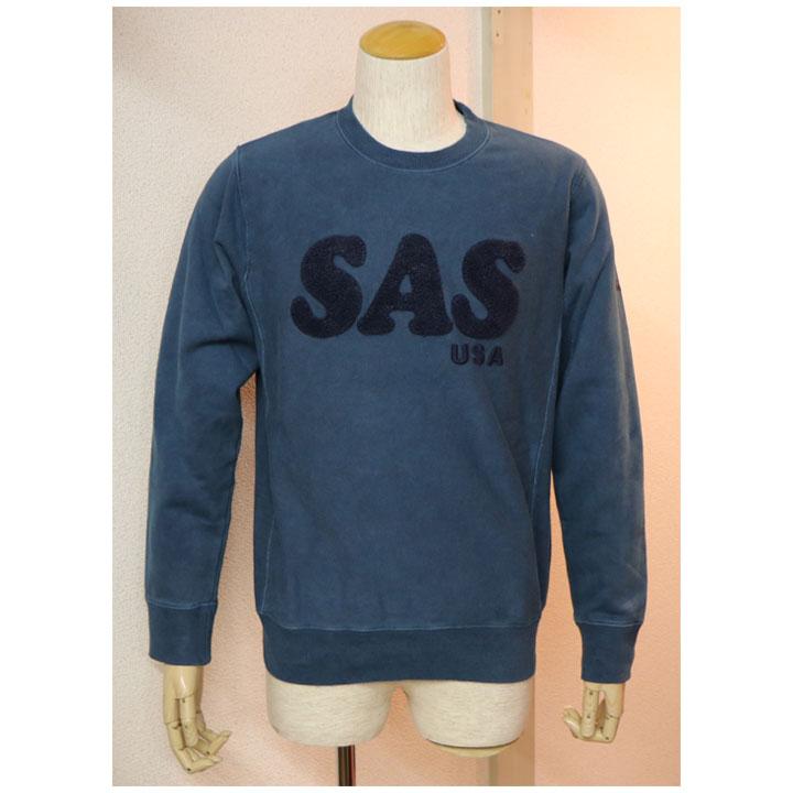 SAS(エスエーエス)サガラ刺繍ロゴトレーナー長袖トレーナー メンズ 3色グレー・ブラウン・ブルー