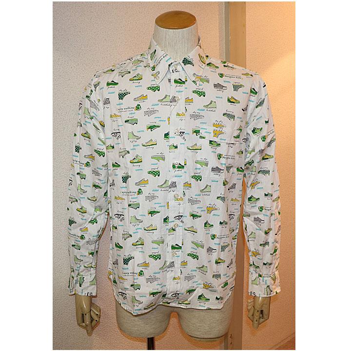 SHARKEY'S(シャーキーズ)長袖シャツ 日本製 2色スニーカー総柄ホワイト ベージュ