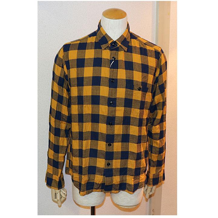 SHARKEY'S(シャーキーズ)長袖チェックシャツ日本製 チェック柄 2色イエロー オレンジ
