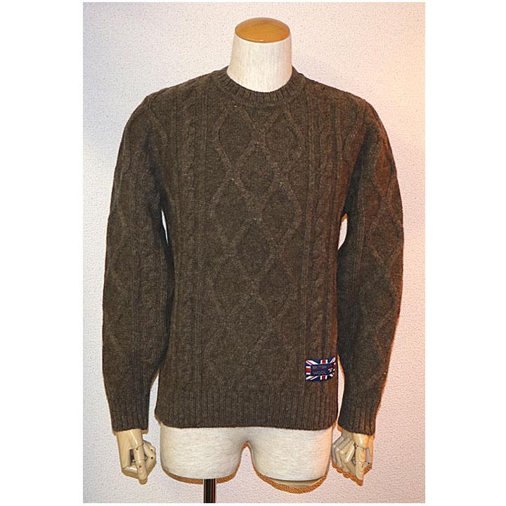 gim(ジム)英国羊毛アラン柄クルーネックニット セーター日本製 ブラウン(アラン模様)