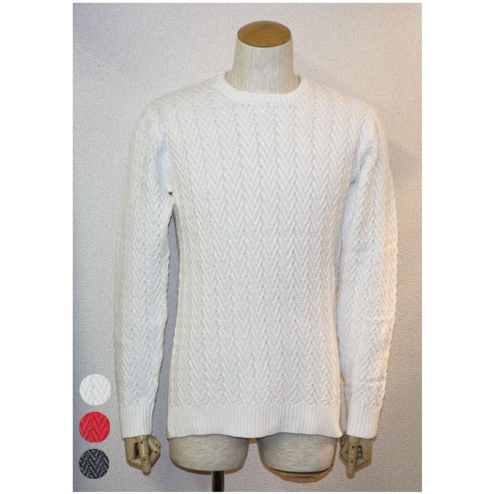 REAL MASTERS(リアルマスターズ)クルーネック綿ニット綿セーター 3色バスケット柄ホワイト レッド ブラック