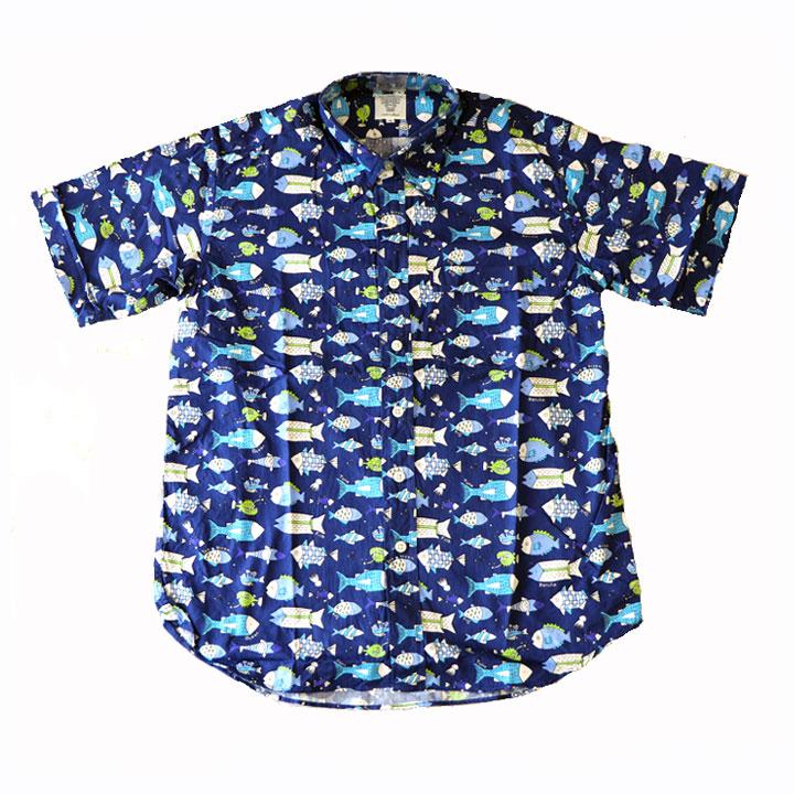 SHARKEY'S(シャーキーズ)半袖シャツ日本製さかな総柄(ネイビー)