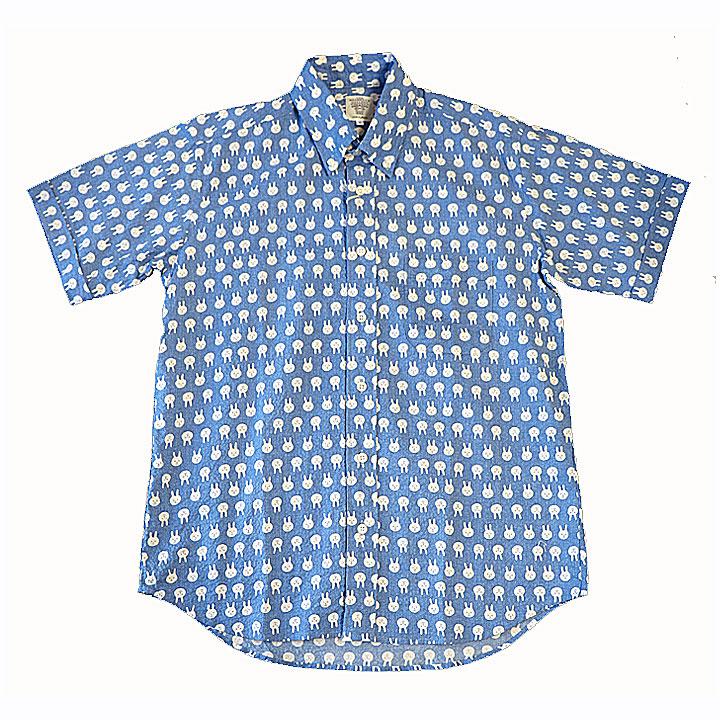 SHARKEY'S(シャーキーズ)半袖シャツ日本製うさぎ総柄(サックス)