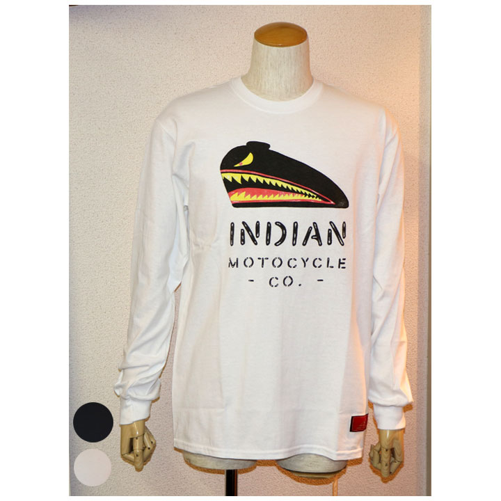 Indian Motocycle× Nowh Ereman(インディアンモトサイクル×ノウ・エレマン)プリントロンT長袖Tシャツ 2色ホワイト ブラック