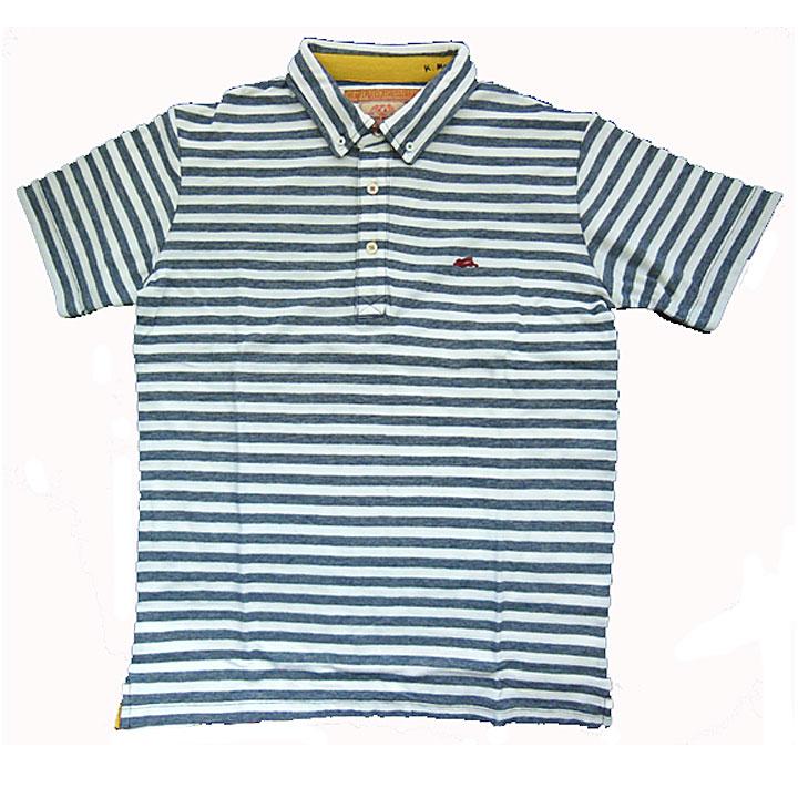 KRIFFMAYER(クリフメイヤー)半袖ポロシャツ『マルチステッチPOLO』ネイビー太ボーダー