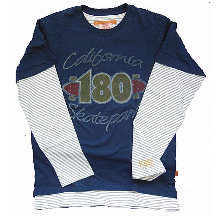 KRIFFMAYER(クリフメイヤー)半袖Tシャツ・長袖Tシャツ『コンビルックT』ネイビー×細ボーダー