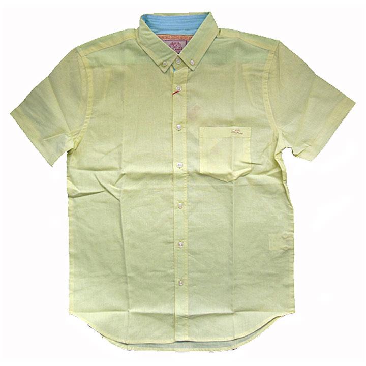 KRIFFMAYER(クリフメイヤー)半袖シャツ『綿麻半袖シャツ』イエロー