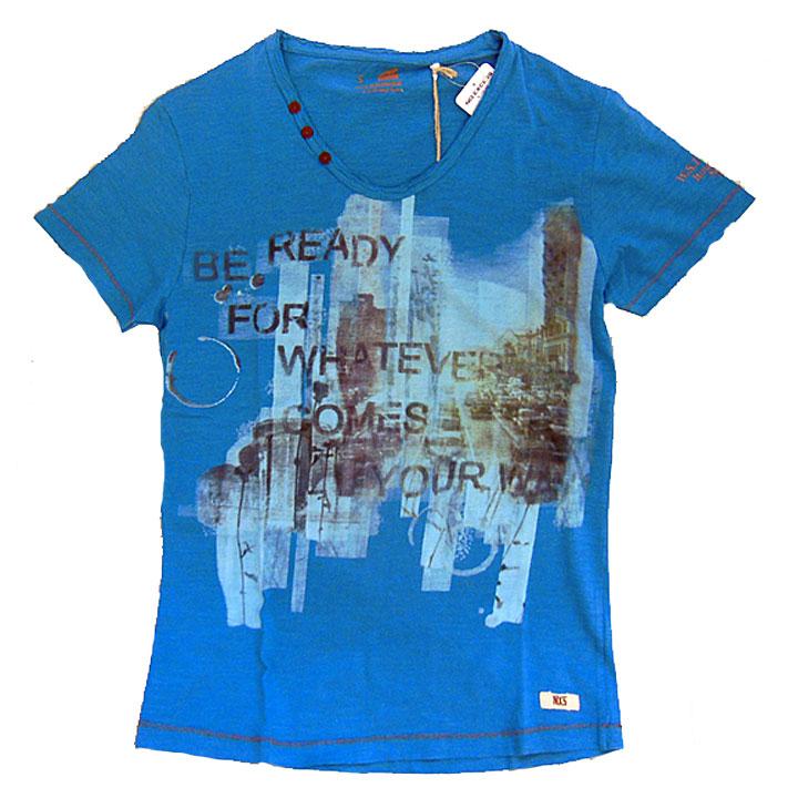 NO EXCESS(ノーエクセス)V-Neck,discharge print半袖Tシャツ036 aqua