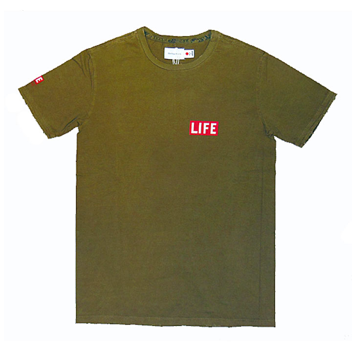 HERITAGE STONE(ヘリテイジストーン)LIFE MAGAZINEコラボTシャツカーキグリーン