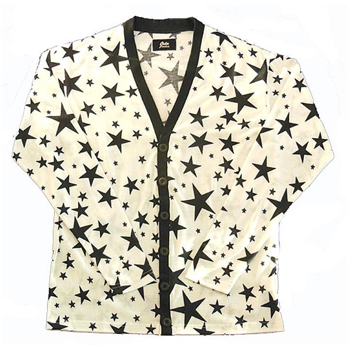 JASTIN MAKIN(ジャスティンメイキン)Vネックカーディガン星柄(white)