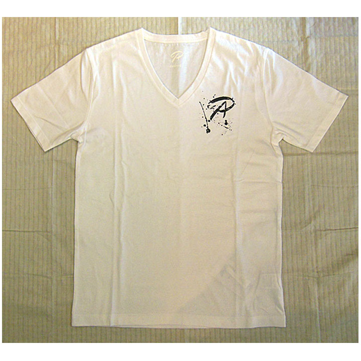 andrea(アンドレア)Vネック半袖TシャツAPロゴ胸ワンポイントWhite(ホワイト)