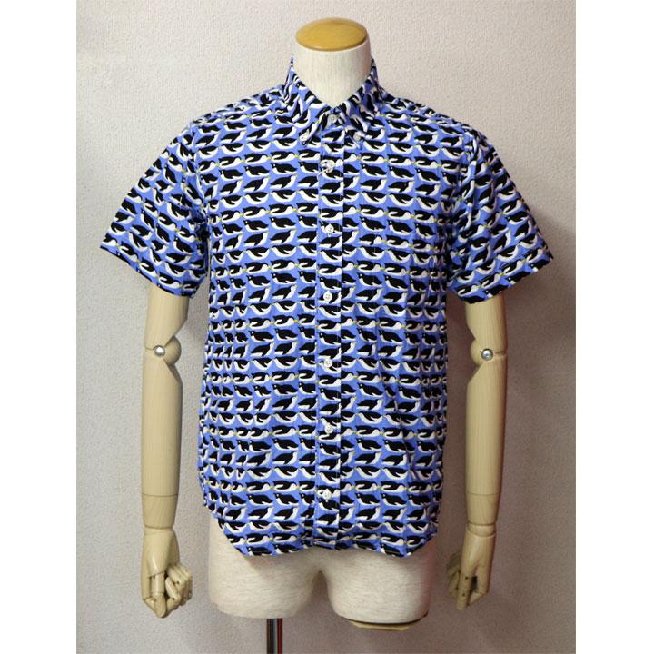 SHARKEY'S(シャーキーズ)半袖総柄ボタンダウンシャツ日本製 半袖シャツブルー グレー(ペンギン総柄)