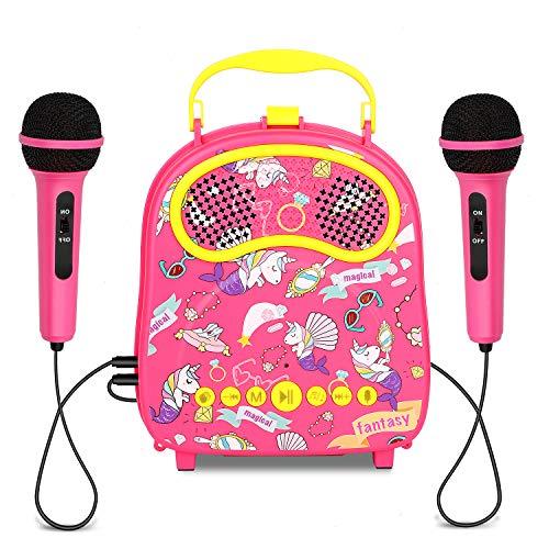 HowQeenカラオケ 子供用のマイク2本 声変え多機能 割引 ートゥーススピーカー ピンク 人気 携帯便利収納ボックスブル