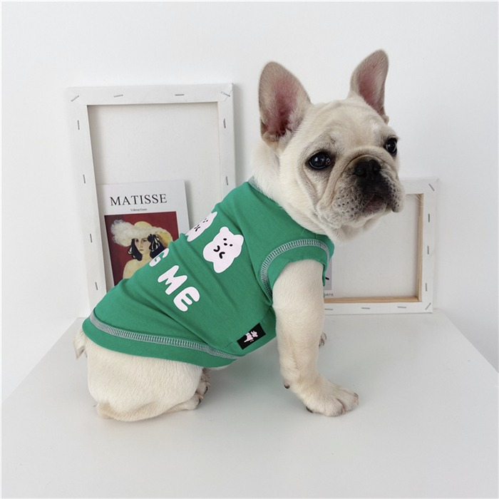 3COLOR フレブル フレンチブルドッグ 服 卸直営 タンクトップ 小型犬 オレンジ グリーン KM227T 中型犬 イエロー 全店販売中