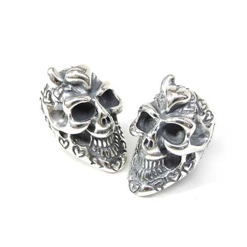 【BWL正規取扱販売店】ビルウォールレザー【送料無料/あす楽】Graffiti Skull Bead w/ 1 horn & heart (forehead) Stamps specify : Heart グラフィティスカルビーズw1ホーン&ハート&スタンプ/ハート/※1個売り