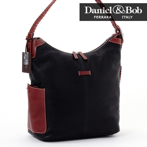 Daniel & Bob shoulder bag (Navy Black) elegant and classy presence is available in miniBB ★ gender 2WAY shoulder / Panda leather bag unisex /PANDA/Daniel Bob/Made In ITALY/p-up