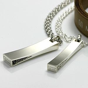 ペアネックレス【ダイヤ&シルバー925】【送料無料】 pair necklaceペアネックレスペアペンダント 【ペア(2本)セット価格】【シンプル プレート】【あす楽対応_】