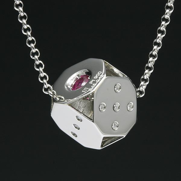 ダイス メンズネックレス プラチナ ルビー&ダイヤ 【送料無料】 Pt900 ネックレス メンズ プラチナ 男性 サイコロ キューブ 宝石 ダイアモンド 高級