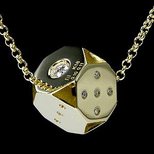 ダイス ネックレス メンズ k18 ダイヤモンド【送料無料】 18k ゴールド gold 男性 サイコロ キューブ ダイアモンド 18金 イエローゴールド メンズネックレス ブランド 宝石