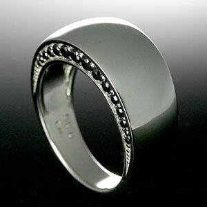 ブラックダイヤ&シルバー925 リング RING 【送料無料】シルバー メンズ ピンキー リング 指輪 シンプル SILVER MEN'S RING 男性用 ダイヤモンド