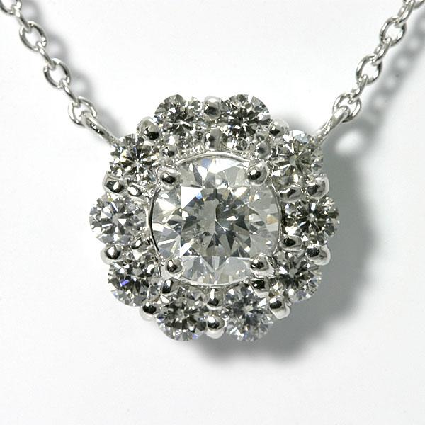 K18WG ダイヤモンド ネックレス 0.5ct TOTAL0.88ct 鑑定書付 【送料無料】18k ホワイトゴールド ダイアモンド