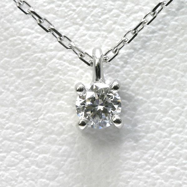 ダイヤモンド ネックレス 0.1ct K18WG 【送料無料】 一粒ダイヤ 0.1カラット ダイアモンド