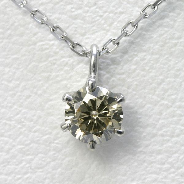 ブラウンダイヤモンド ネックレス 0.2ct K18WG 【送料無料】ブラウンダイヤ 一粒 ネックレス brown diamond pendant necklace