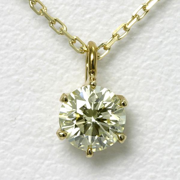 イエローダイヤモンド ネックレス 0.3ct K18 SI-1 VERY GOOD【送料無料】 一粒ダイヤ ダイヤモンド 18k 金 ゴールド ジュエリー レディース シンプル