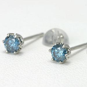 ブルーダイヤモンド ピアス プラチナTOTAL 0.2ct【送料無料】一粒 ダイアモンドピアス pierce