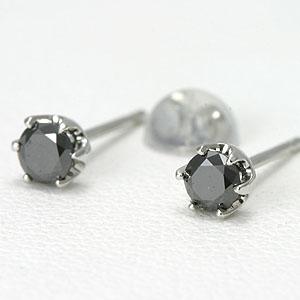 プラチナブラックダイヤモンドピアス TOTAL 0.2ct 【送料無料】black diamond pierce 一粒 ダイヤピアス 人気 ダイアモンドピアス