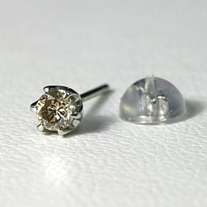 ブラウンダイヤ 0.1ct ピアス メンズ プラチナ 片耳 【送料無料】Pt900 brown diamond pierce 一粒 ダイヤ 男性 ジュエリー シンプル