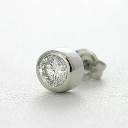 メンズピアス ダイヤモンド 0.3ct F-SI2-GOOD プラチナ 片耳用 【送料無料】Pt900 Men's diamond pierce 男性 ふくりん留め ふせ込み ベゼルセッティング