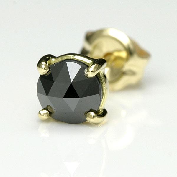ピアス メンズ 18k K18ゴールド ブラックダイヤ 0.35ct 開店祝い ローズカット 片耳用 送料無料 男性 pierce ブラックダイヤモンド シンプル Men's 男物 お気に入 一粒 人気