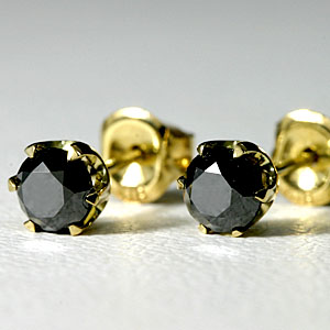 ブラックダイヤ ピアス K18 TOTAL0.6ct 【送料無料】 ダイアモンドピアス ゴールド 金 pierce gold 18k 一粒