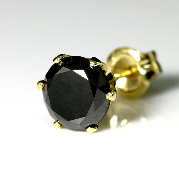 K18ゴールド ピアスメンズ ブラックダイヤ 1ct 片耳用【送料無料】ブラックダイヤモンド 1カラット【男性】【シンプル 一粒メンズピアス】