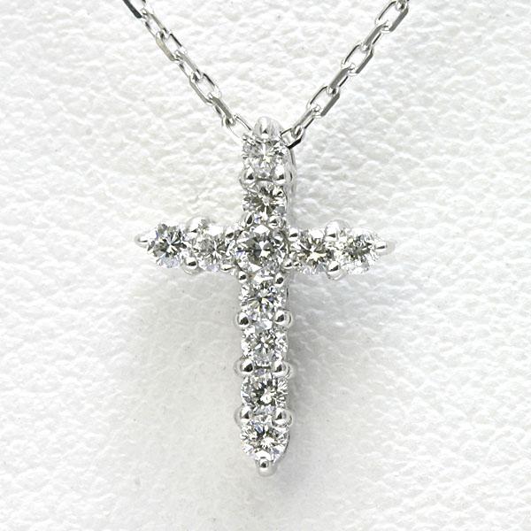 ダイヤモンド クロス ネックレス K18WG 【送料無料】 ホワイトゴールド レディース クロスネックレス 18k 十字架
