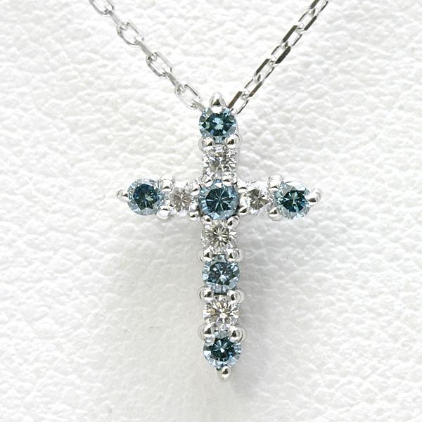 ブルーダイヤ&ダイヤクロスネックレス K18WG 【送料無料】 18kホワイトゴールド プチ クロスネックレス 十字架