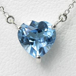 ブルートパーズ 1ct ハートネックレス K10WG【送料無料】【heart pendant necklace】ホワイトゴールド 11月誕生石 一粒 ネックレス