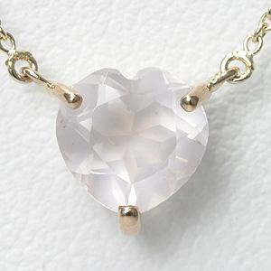 ローズクォーツ 1ct ハートネックレス K10PG 【送料無料】ピンクゴールド 一粒ネックレス 【Pink Gold heart Necklace】