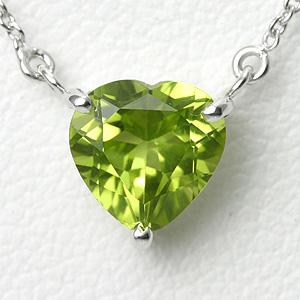 ペリドット 1ct ハートネックレス K10WG【送料無料】【heart necklace peridot pendant】【一粒ペンダント】8月 誕生石 ペリドット 【別名 イブニング・エメラルド】